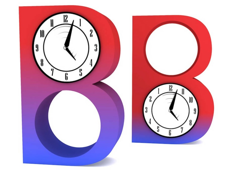 In this illustration, two different B mesons are changing between states (represented as colors); however blue-B changes into red-B more quickly than red-B changes into blue-B (a process running in reverse-time, as shown by the backwards clock dial).