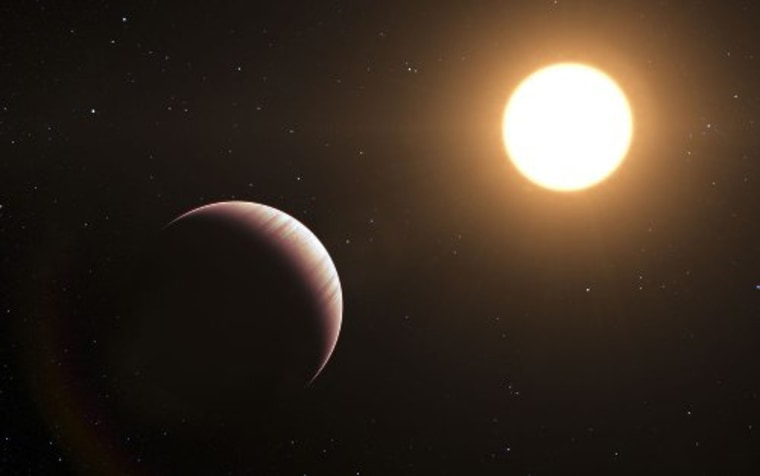 An artist's impression of the Tau Bootis system. Astronomers are working to detect atmospheres of exoplanets.