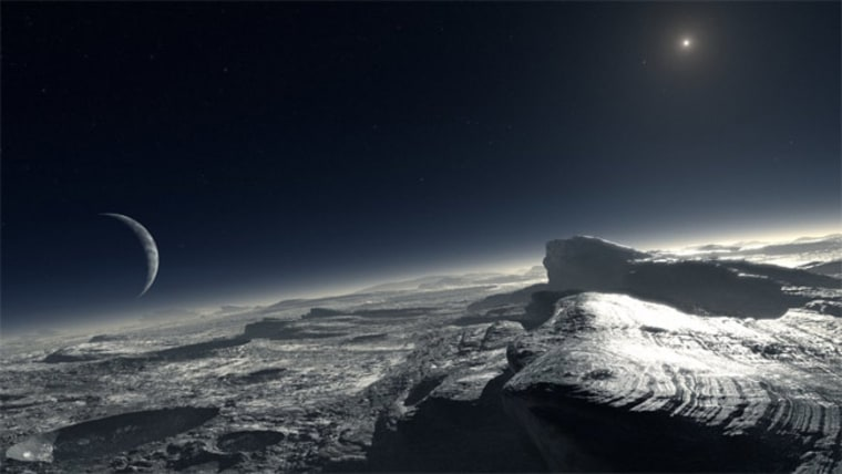 An artist's impression of how the surface of Pluto might look. The image shows patches of pure methane on the surface.