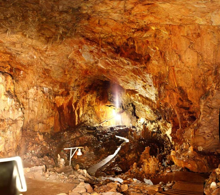 A giant cave called Alepotrypa that might have helped serve as the inspiration for the mythic ancient Greek underworld Hades may have supported complex settlements in its heyday. Shown is the cave's main chamber.