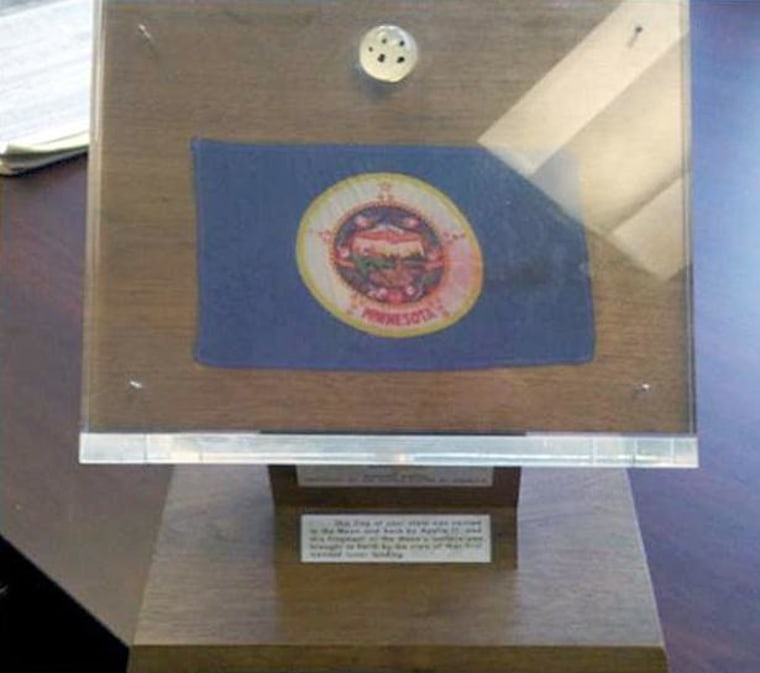 Minnesota's Apollo 11 lunar sample display, seen here, was found in storage at the Veterans Service Building in St. Paul. It is being transferred to the Minnesota Historical Society.