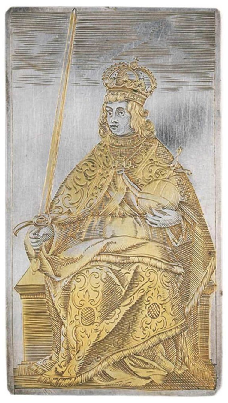 Among a set of playing cards from 400 years ago was this king of swords, with the ruler dressed as a Holy Roman emperor. The full deck was sold in 2010.