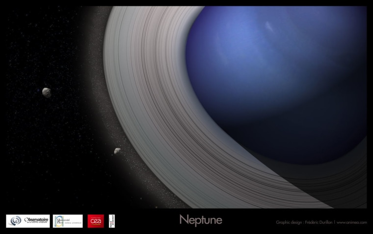 An artist's view of Neptune with massive rings, giving birth to its satellite system.