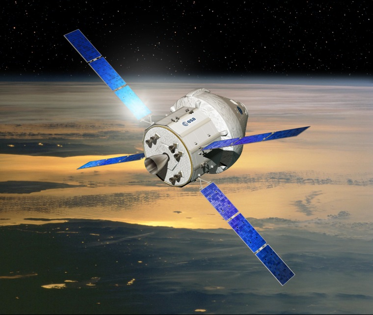 An artist's concept of NASA's Orion crew capsule with a service module provided by the European Space Agency.