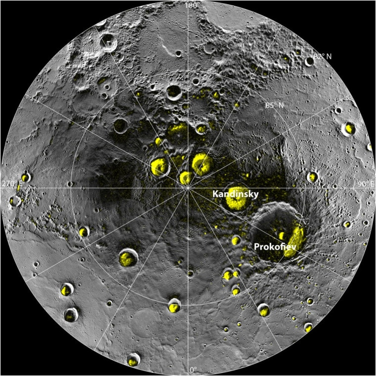 The radar image of Mercury's north polar region from Image 2.1 is shown superposed on a mosaic of MESSENGER images of the same area. All of the larger polar deposits are located on the floors or walls of impact craters. Deposits farther from the pole are seenconcentrated on the north-facing sides of craters.