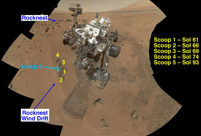 """NASA's Curiosity Mars rover documented itself in the context of its work site, an area called """"Rocknest Wind Drift,"""" on the 84th Martian day, or sol, of its mission (Oct. 31). This image was released on Monday."""