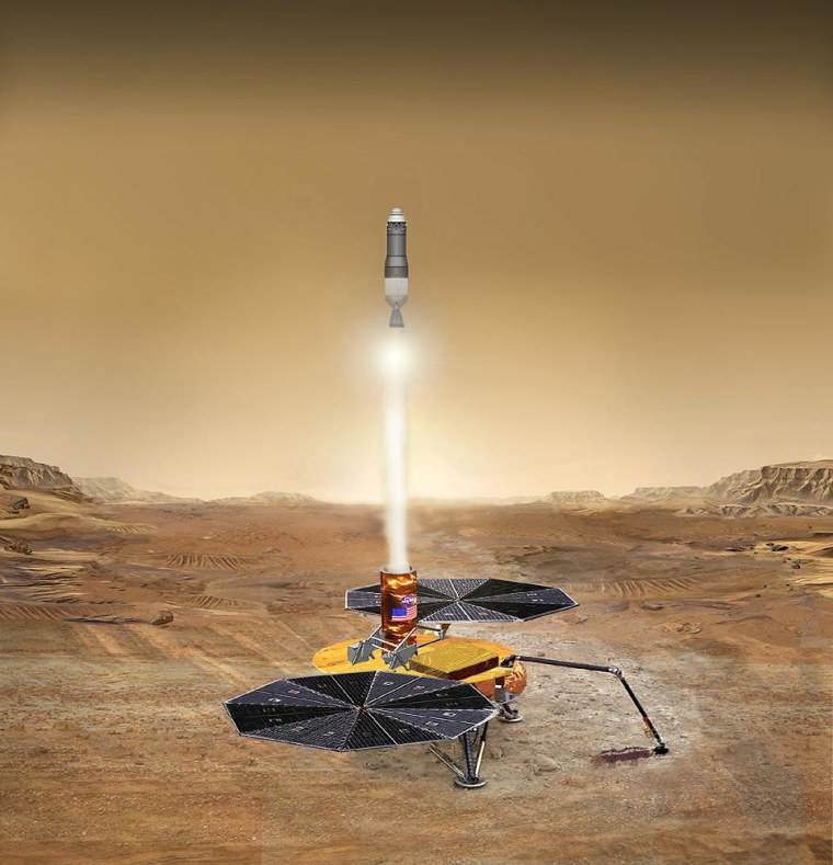 This artist's concept shows a sample of Martian rocks and soil blasting off the Red Planet's surface, destined for scientists' labs here on Earth.