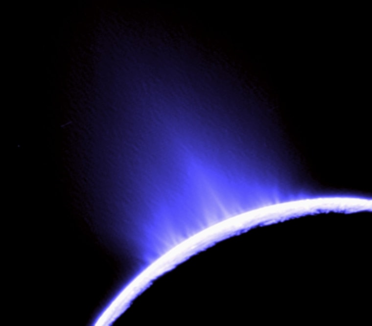 This photo of water geysers spouting from Saturn's moon Enceladus was taken by NASA's Cassini orbiter in October 2007.