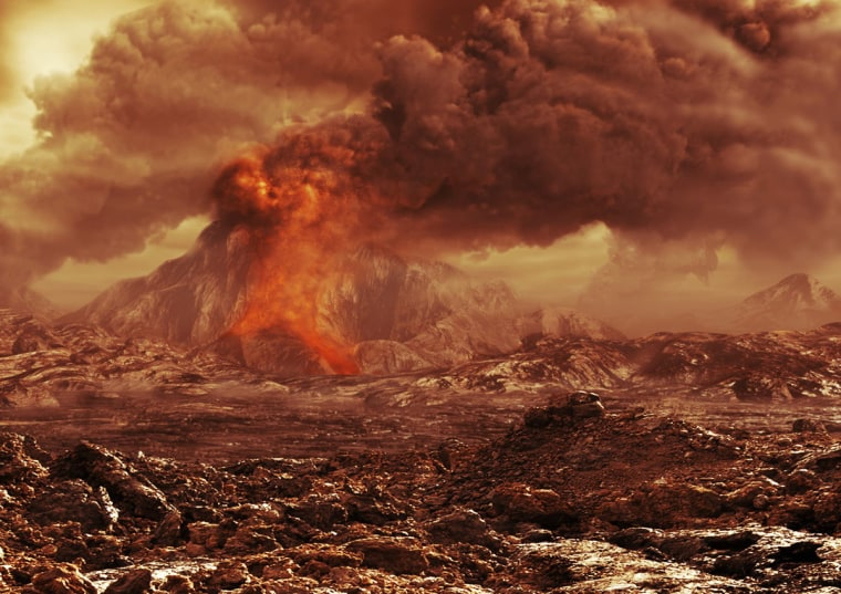 An artist's impression of an active volcano on Venus.