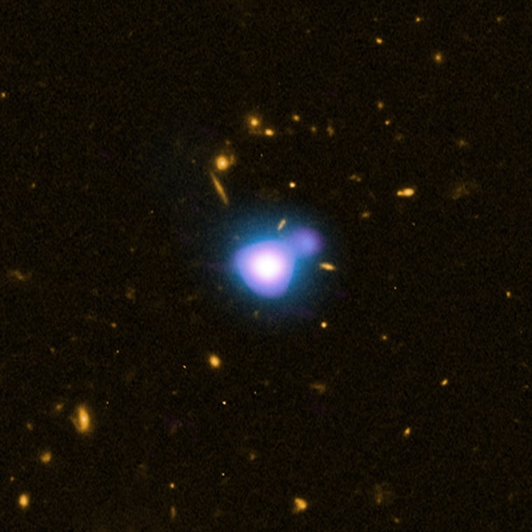 A quasar at a distance of about 12.4 billion light years from Earth.