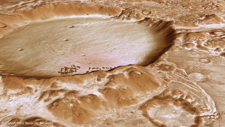This computer-generated perspective view of Charitum Montes was created using data obtained from the High-Resolution Stereo Camera (HRSC) on ESA's Mars Express. The image shows the large breach in the northern wall of the crater, located near to the uppermost sand dune.