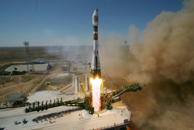 A Russian Soyuz-FG rocket launches 5 satellites from Baikonur launch site on July 22.