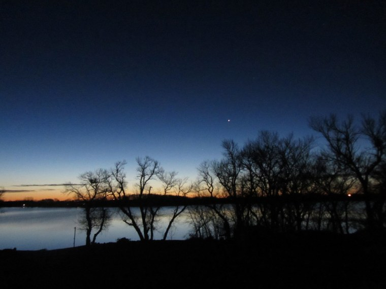 """Night sky observer Brenda Steffes sent in this photo of the planet Venus shining in the night sky on Dec. 3, 2012. She writes: """"This photo was taken from my back porch in Hendricks, Minn."""""""