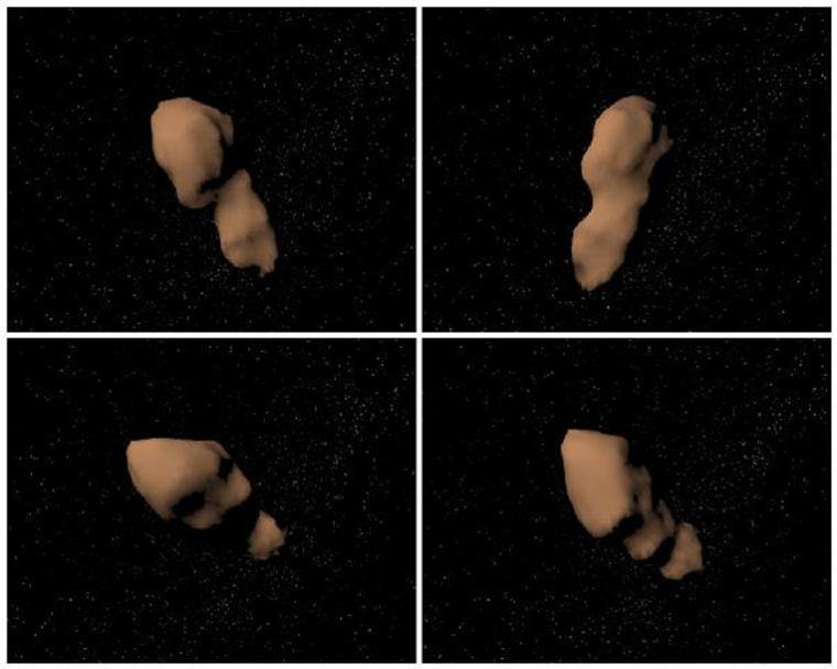 Computer-generated views of asteroid 4179 Toutatis, constructed using radar observations from NASA's Goldstone Observatory in California.