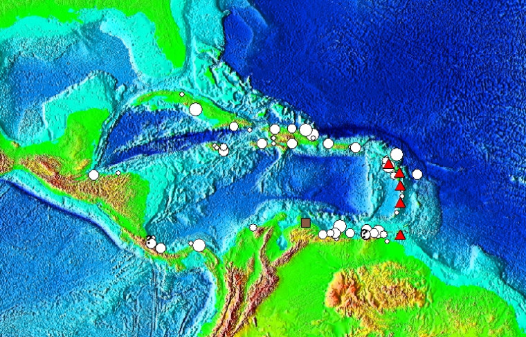 Tsunami source locations in the Caribbean Sea. The symbols indicate the cause of the tsunami: Brown Square is a landslide, Red Triangle is a volcanic eruption, Question Mark is an unknown cause, and White Circle is an earthquake and the size of the circle is graduated to indicate the earthquake magnitude.