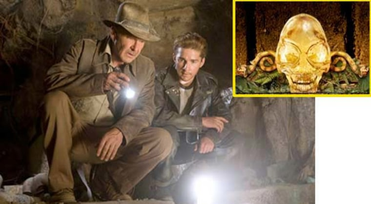 "Harrison Ford and Shia LaBeouf in a scene from ""Indiana Jones and the Kingdom of the Crystal Skull."" Also shown is an illustration of the crystal skull."
