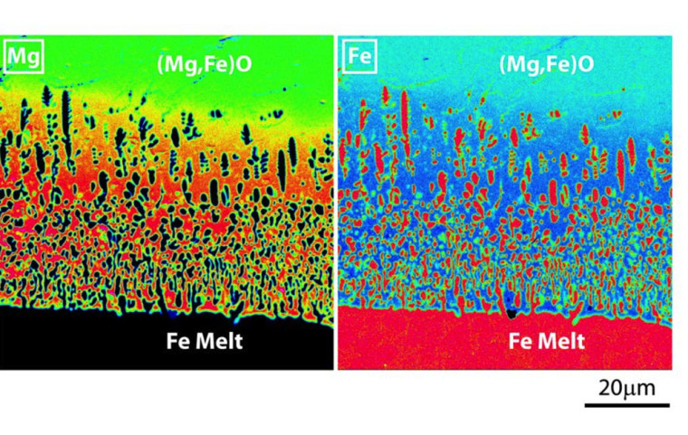 Mapping of magnesium concentration (left panels) and iron concentration (right panels) in molten iron and solid magnesium-iron oxide in an experiment meant to mimic how iron from Earth's core may be seeping into its mantle.