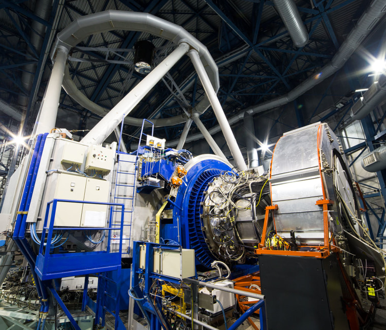 The KMOS instrument mounted on ESO's Very Large Telescope at the Paranal Observatory in Chile. KMOS will be able to observe not just one, but 24 objects at the same time in infrared light.