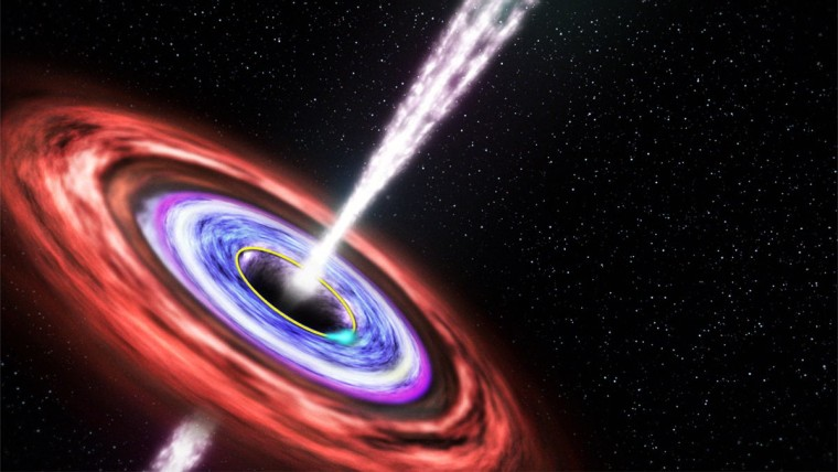 This illustration shows a black hole emitting jets of fast-moving plasma above and below it, as matter swirls around in an orbiting disk.