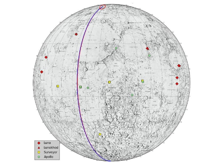 "This graphic highlights locations on the moon NASA considers ""lunar heritage sites"" and the path NASA's Gravity Recovery and Interior Laboratory spacecraft will take on their final flight. The image was released Thursday."
