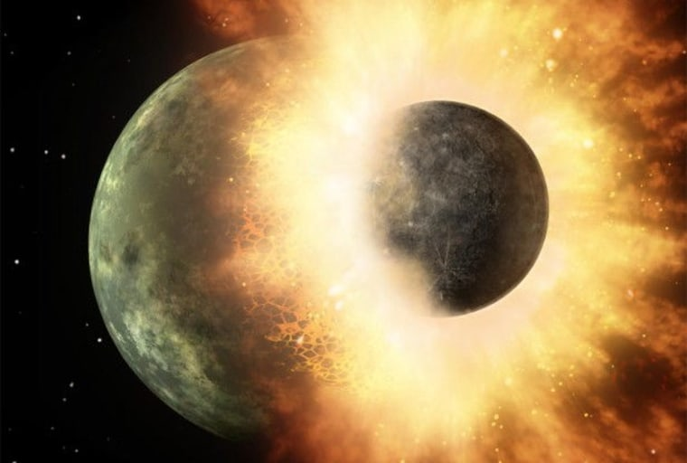 This artist's conception of a planetary smashup whose debris was spotted by NASA's Spitzer Space Telescope three years ago gives an impression of the carnage that would have been created when a similar impact made Earth's moon. A team at Washington University in St. Louis has uncovered evidence of this impact that scientists have been trying to find for more than 30 years.