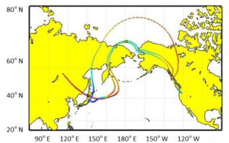 A plume of dust and hitchhiking microbes reached the West Coast and was detected at the Mount Bachelor observatory in April 2011. It traveled from several Asian locations and at various levels in the troposphere (red and yellow being highest), according to scientists using models to determine the back trajectories.
