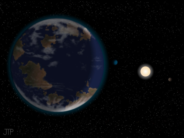This artist's impression shows the newfound potentially habitable alien planet HD40307g in the foreground, with its host star and two other worlds in the six-planet system also depicted. The atmosphere and continents shown are neither detected nor constrained by the discovery team's observations.