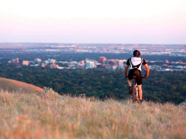 A mountain biker cruises along in Boise, Idaho.