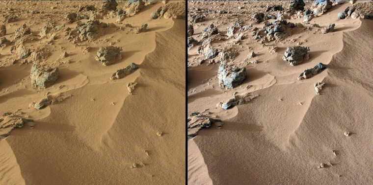"""This pair of images from NASA's Curiosity rover show part of a wind-blown deposit dubbed """"Rocknest."""" At left is an unmodified shot, showing how the scene appears on Mars; the image at right has been white-balanced to show how it would look under Earth's lighting conditions."""