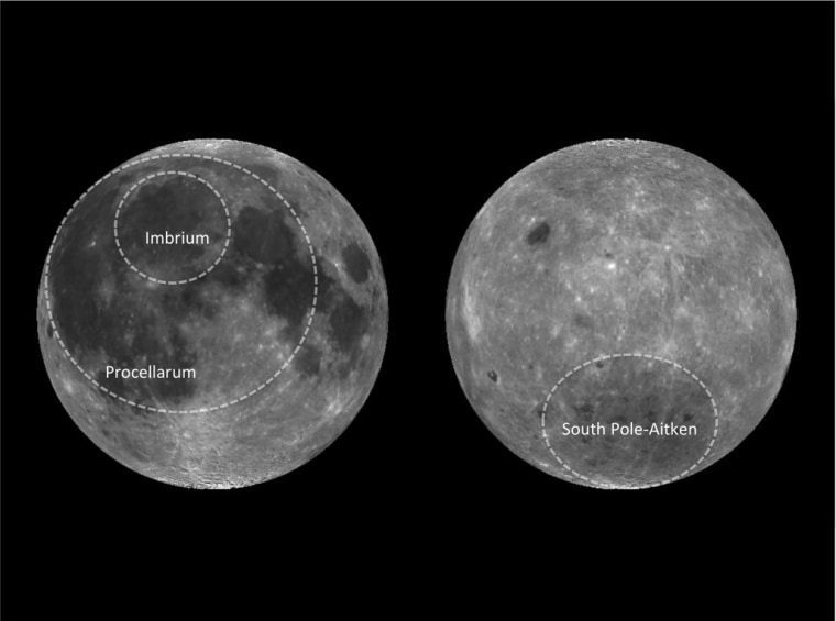 The near side (left) and far side (right) of the moon, showing the outline of the three biggest impact basins.