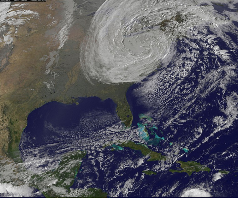 NOAA GOES-13 weather satelliteimage of Sandy at 6:02 a.m. EDT on Tuesday.