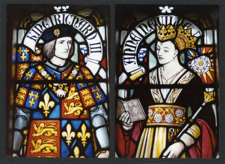 Richard III and his queen, Anne of Neville, in a stained glass window in Cardiff Castle.