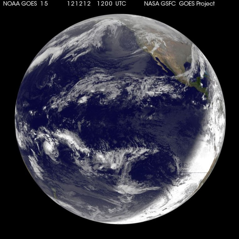 NOAA's GOES-15 satellite snapped this image of the Earth on Dec. 12, 2012.
