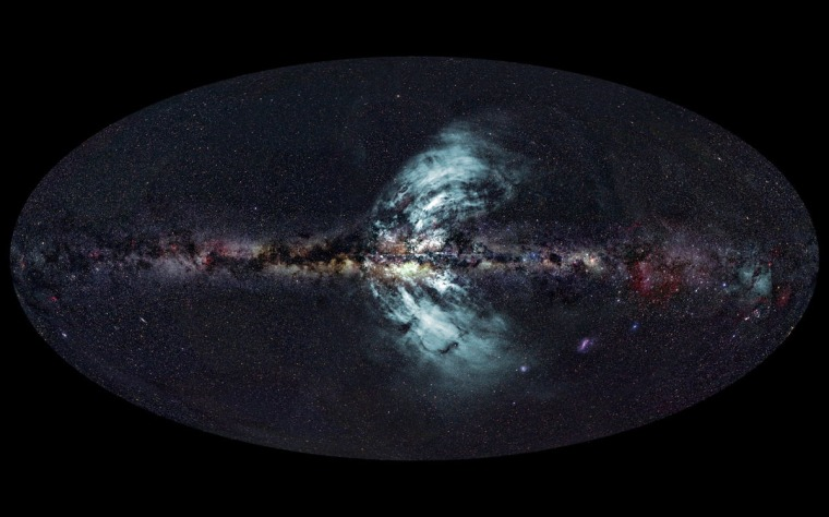 """This photo shows the """"geysers"""" (in blue) shooting out of the Milky Way."""
