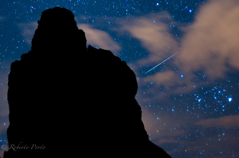 Amateur photographer Roberto Porto snapped this photo of a Quadrantid meteor streaking over the volcanic island ofTenerife in Spain's Canary Islands on Jan. 4, 2012 during the meteor shower's peak.
