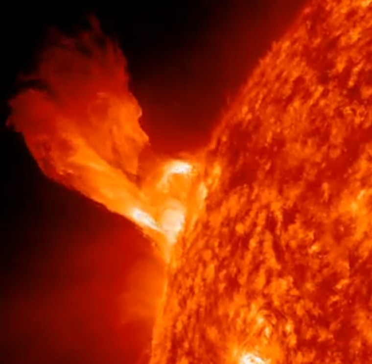 This still from a NASA video shows thesun eruption of Dec. 31 to kick off the New Year. NASA's Solar Dynamics Observatory captured the video.