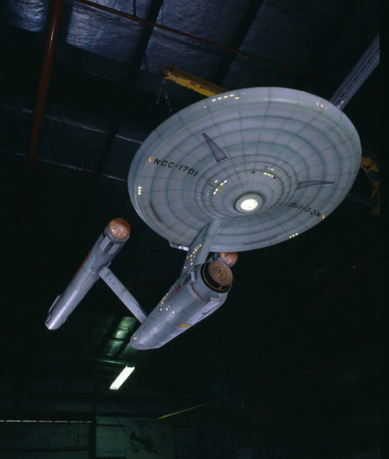 "This model of the fictional starship Enterprise was used in the weekly hourlong ""Star Trek"" TV series that aired September 1966 to June 1969."
