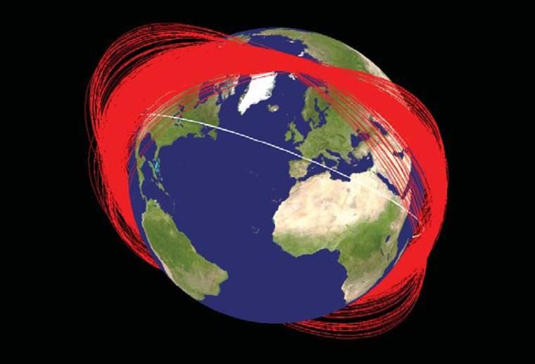 Image: Known orbit planes of Fengyun-1C debris