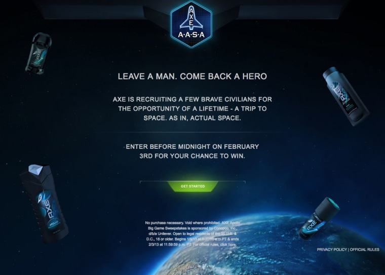 Axe, makers of body spray and other personal hygiene products, offers a chance to fly into space on a X-COR Lynx sub-orbital space vehicle in a new sweepstakes.