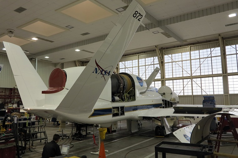 This is a NASA Global Hawk being loaded with monitoring equipment for the ATTREX mission.