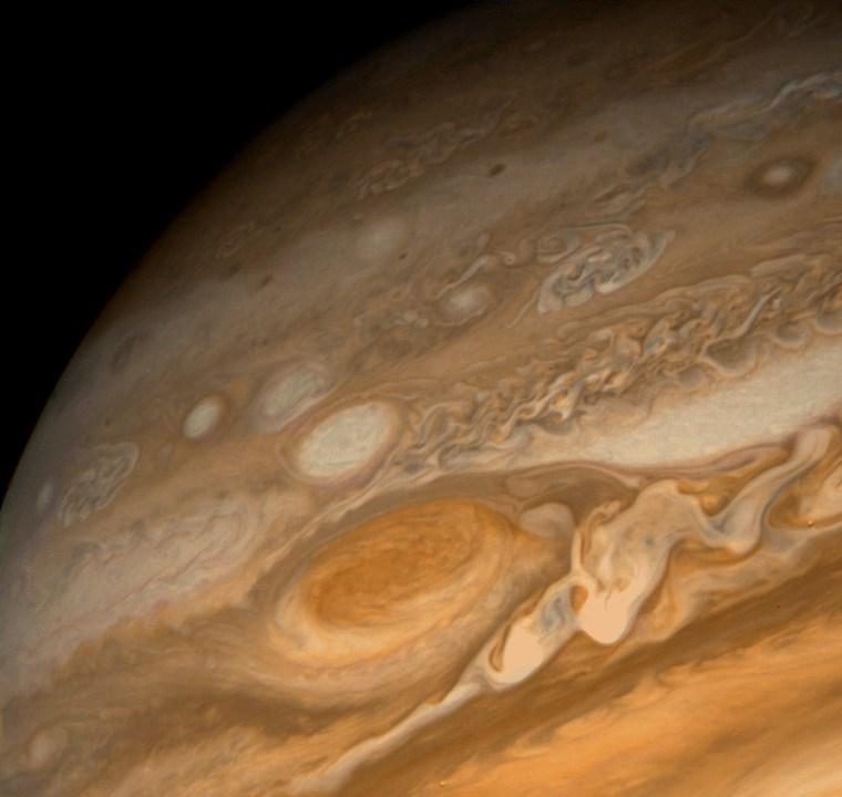 A close-up of Jupiter's Great Red Spot as seen by a Voyager spacecraft.