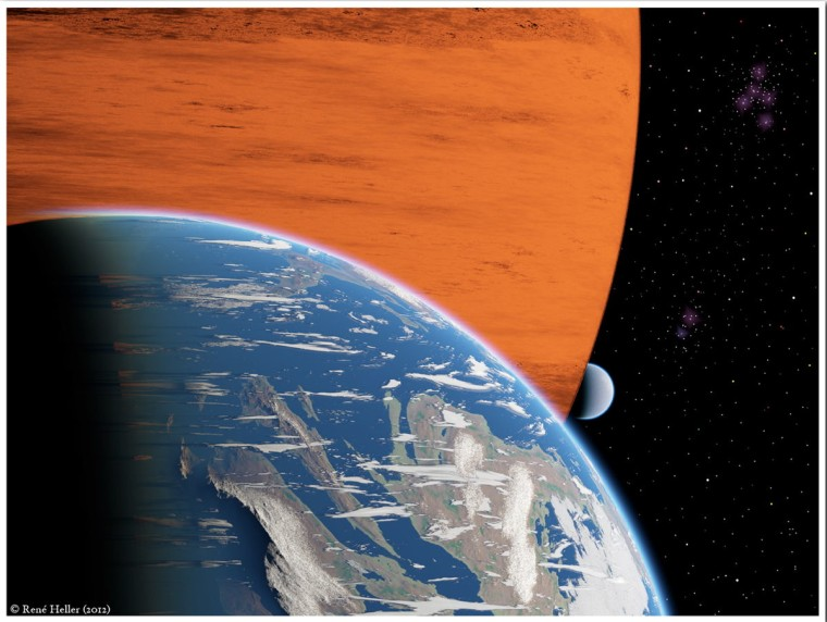 An artist's conception of two extrasolar moons orbiting a giant gaseous planet.