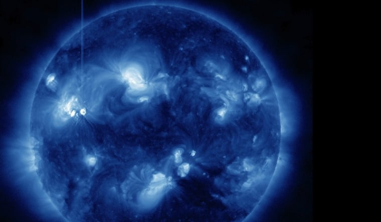 This view of the flare on Friday was recorded by NASA's Solar Dynamics Observatory.