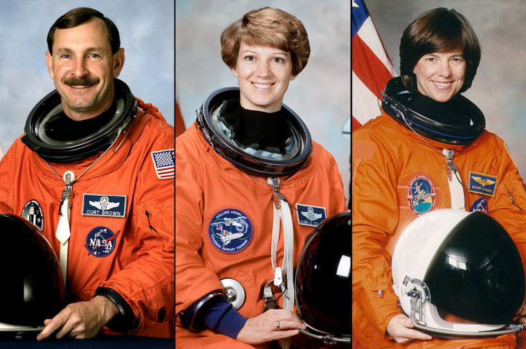 2013 Astronaut Hall of Fame inductees, from left to right: Curtis Brown, Eileen Collins and Bonnie Dunbar.