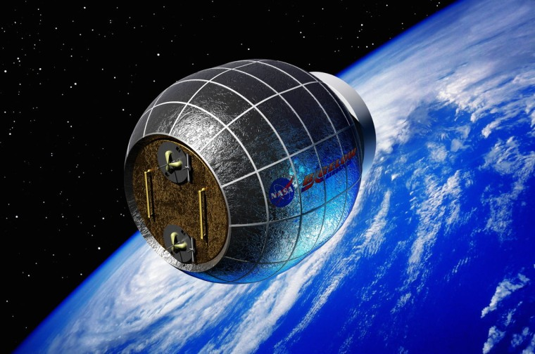 An artist's conception of the private-sector-supplied Bigelow Expandable Activity Module (BEAM) to be launched around the summer of 2015.