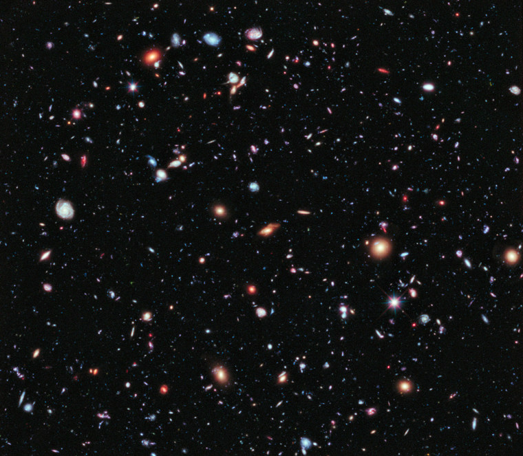 Called the eXtreme Deep Field, or XDF, the photo was assembled by combining 10 years of NASA Hubble Space Telescope photographs taken of a patch of sky at the center of the original Hubble Ultra Deep Field. The XDF is a small fraction of the angular diameter of the full moon. This image was released on Sept. 25, 2012.