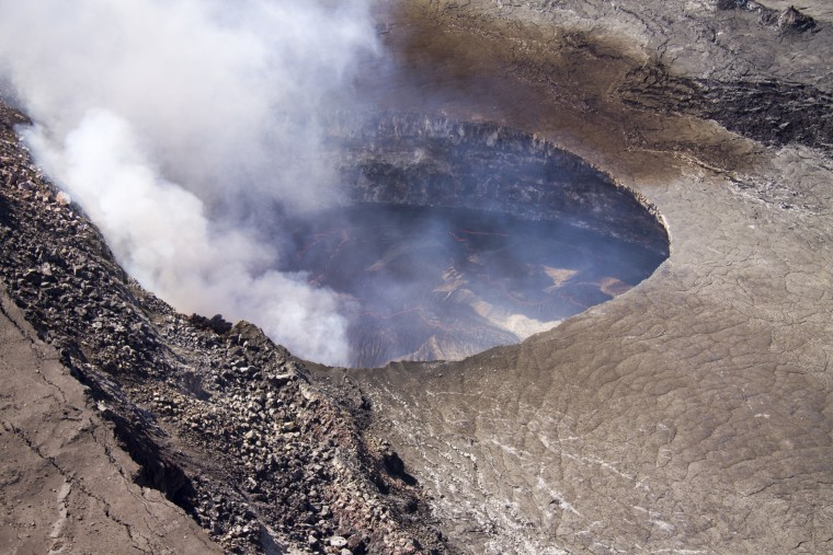 The lava lake in Halemau'ma'u crater at the summit of Kilauea volcano on Jan. 10.