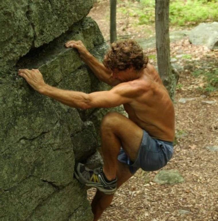 John Davis does someboulder climbing in the Catskills.