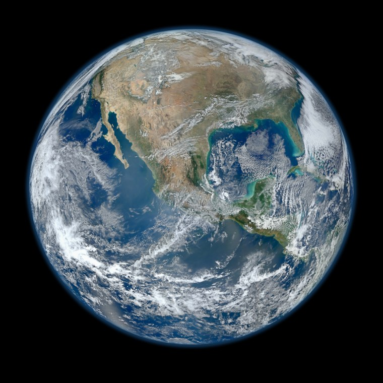 This composite image uses a number of swaths of the Earth's surface taken on Jan. 4, 2012.