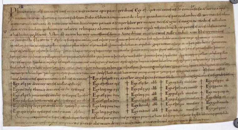 Amedieval charter, by King Aethelred, written in the year 1001. Many such charters are undated, but a new computer program helps determine their year of origin.